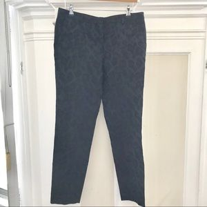 Zara navy trousers with black embroidery print